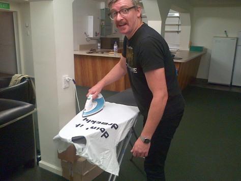 Rhys Darby ironing
